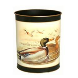Traditional Range - Gould Ducks Wastepaper bin with hand guilded gold rim, H28cm, bottle green