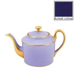 Sous le Soleil Teapot straight sided, 1 litre - 6 cup, cobalt blue with classic matt gold band