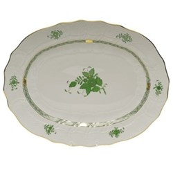 Apponyi Oval platter, 41.5cm, green