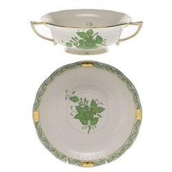 Apponyi Soup cup and saucer, 36cl - 18.5cm, green