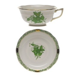 Apponyi Teacup and saucer, 24cl - 15cm, green