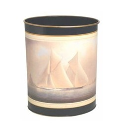 Traditional Range - Racing Yachts Wastepaper bin with hand guilded gold rim, H28cm, Oxford blue