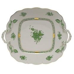 Apponyi Rectangular platter with handles, 29.5 x 25cm, green