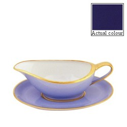 Sous le Soleil Sauce boat and stand, cobalt blue with classic matt gold band
