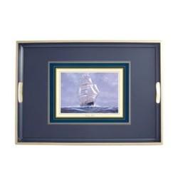 Melamine Range - Clipper Ships Traditional tray, 55 x 39.5cm, Oxford blue