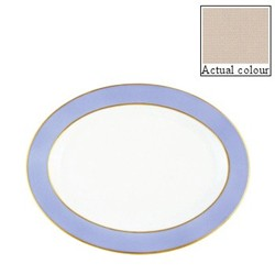 Sous le Soleil Oval platter, 36cm, mastic with classic matt gold band