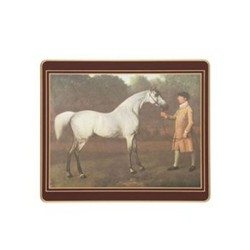 Traditional Range - Racehorses Set of 6 tablemats with frame line, 24 x 20cm, regal red