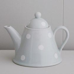 White Spot Teapot conical, 4 cup, blue
