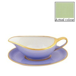 Sous le Soleil Sauce boat and stand, pastel green with classic matt gold band