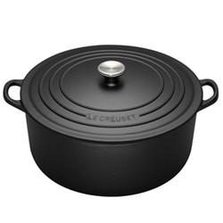 Signature Cast Iron Round casserole, 22cm - 3.3 litre, satin black