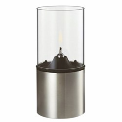 Erik Magnussen Oil lamp, H18 x W8.5cm, satin stainless steel with glass shade