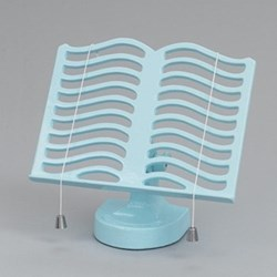 Cook book stand, pale blue cast iron