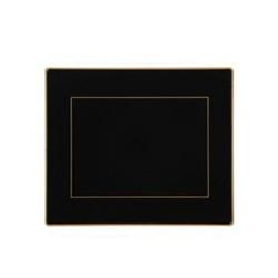 Screened Range Set of 6 tablemats with gold frame line, 24 x 20cm, black
