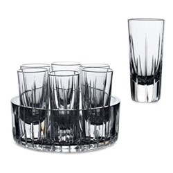 Trafalgar Set of 6 vodka shot glasses in a cooling tray, clear crystal