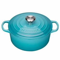 Signature Cast Iron Round casserole, 28cm - 6.7 litre, teal