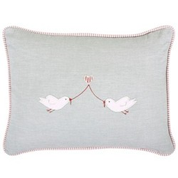 Love Birds Cushion, 40 x 30cm, duck egg blue