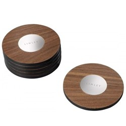 Set of 6 coasters, walnut with inlaid magnetic disks