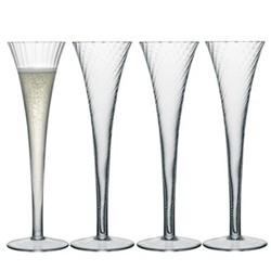 Aurelia Set of 4 champagne flutes, 200ml, clear