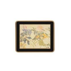 Traditional Range - Chinese Flowers Set of 6 coasters, 11 x 9cm, black
