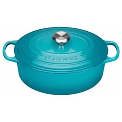 Signature Cast Iron Oval casserole, 27cm - 4 litre, teal