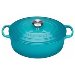 Signature Cast Iron Oval casserole, 25cm - 3 litre, teal