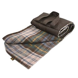 Eventer Waterpoof picnic rug, 137 x 170cm, antique dress gordon wool with brown back