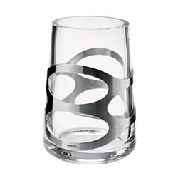 Embrace Vase, 16.5cm, satin stainless steel/glass