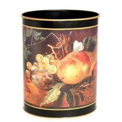 Traditional Range - 17th Century Still Life Wastepaper bin with hand guilded gold rim, H28cm, black
