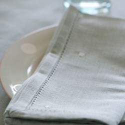 White Spot Set of 4 napkins, duck egg blue