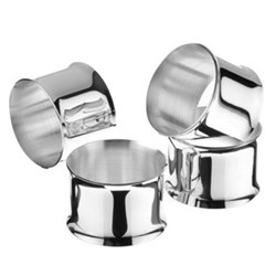 Set of 4 napkin rings with curved edges, silver plate