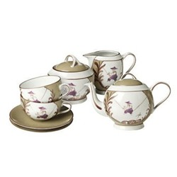 Indes Galantes Round teacup and saucer, 20cl, taupe/blackberry