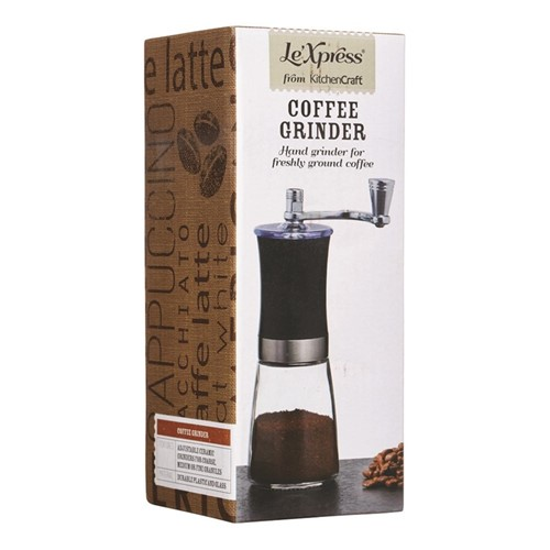 Le'Xpress Coffee grinder, 8 x 18cm, wood/glass/stainless steel