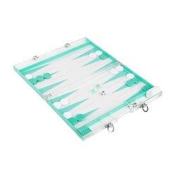 Backgammon set, 41 x 26 x 5cm, turquoise & white