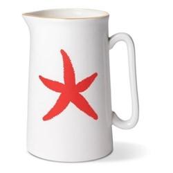Starfish Pint jug, Dia9 x H13.5cm, gold rim