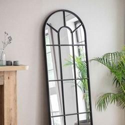 Fulbrook Arched mirror, H170 x W60 x D3cm, Black