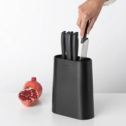 Tasty+ Knife block with knives, H33.5 x W19 x D9cm, dark grey