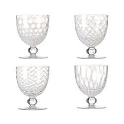 Pulcinella Set of 4 large white wine glasses, H13cm, clear and white