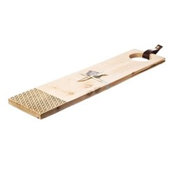 Geo Print Long sycamore serving board with leather tab, L65 x W15 x H2cm, sycamore