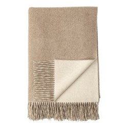 Plain Reversible Cashmere bed throw, 230 x 150cm, light brown/grey
