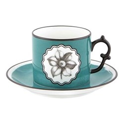 Herbariae Teacup and saucer, 15 x 7.5cm, peacock