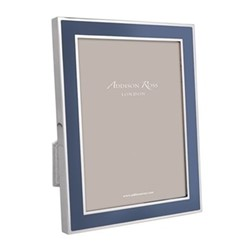 "Enamel Range Photograph frame, 5 x 7"" with 15mm border, denim with silver plate"