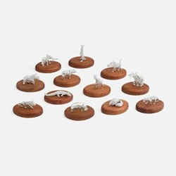 The Highland Safari Collection Set of 12 placecard holders, 7 x 5 x 8cm, African animals