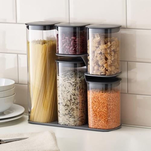 Podium 5-piece storage jar set with stand, grey