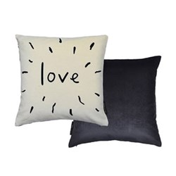 Love cushion, L40 x W40cm, cream/black