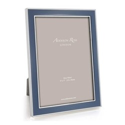 "Enamel Range Photograph frame, 4 x 6"" with 15mm border, denim with silver plate"
