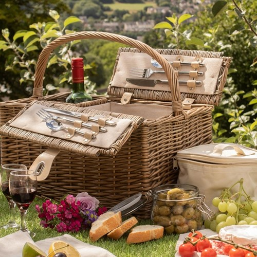 Removable Chiller Picnic hamper - 2 person, 46 x 34 x 24cm, antique wash wicker