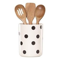 Deco Dot Utensil crock with 3 wooden utensils, H20.32cm, white and black