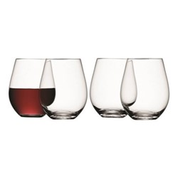 Wine Set of 4 stemless wine glasses, 530ml, clear
