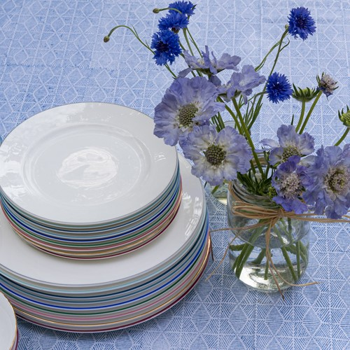 Rainbow Collection Side plate, 20cm, marine blue rim