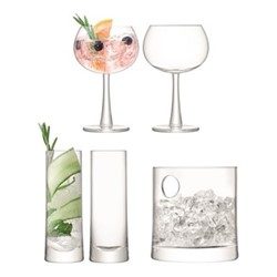 Gin Ice bucket and glass set, clear